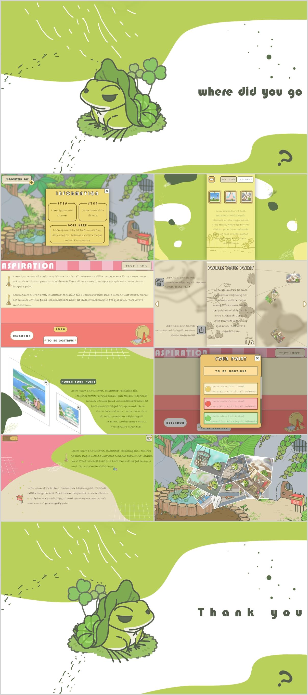 Travel Frog slides - Travel Frog Game Presentation Slides - Yellow, travel, Pink, Green, Game, frog, cartoon, animal