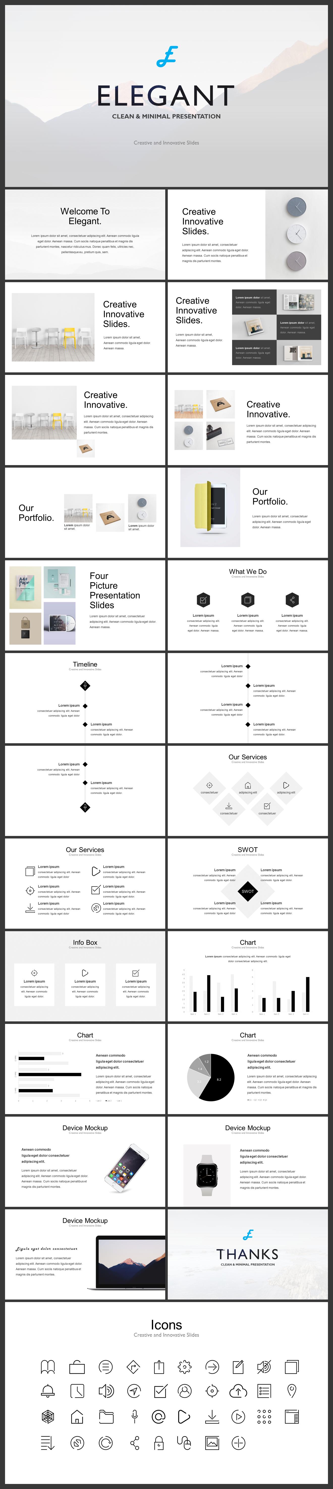 ELEGANT CLEAN MINIMAL PRESENTATION PRE - Elegant clean & minimal presentation - swot, simple, Mockup, minimal, elegant, Creative, clean