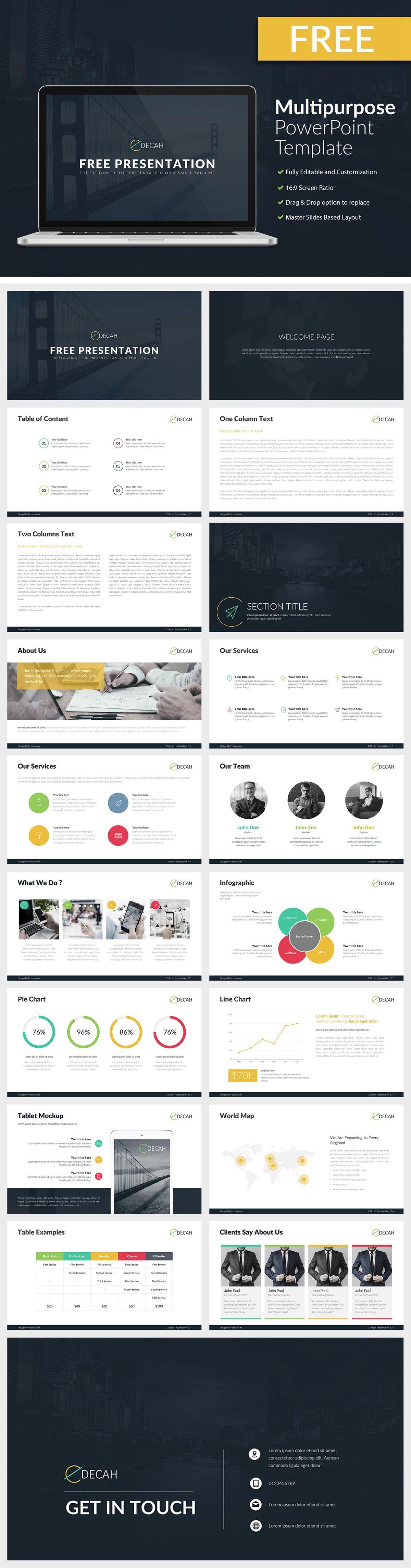 CDECAH Free Multipurpose PowerPoint Template - C'DECAH - Free Multipurpose PowerPoint Template - world map, startup, Multipurpose, mockup, Business