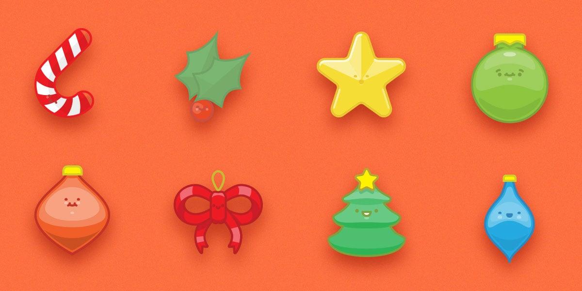 Free Set of 9 Happy Christmas Ornaments