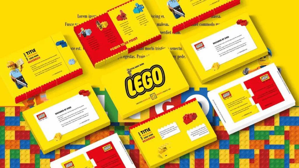 LEGO cartoon presentation themes 1024x576 - LEGO Cartoon Slide Theme - Yellow, red, pixel, cute cartoon ppt template, cartoon powerpoint background templates, cartoon