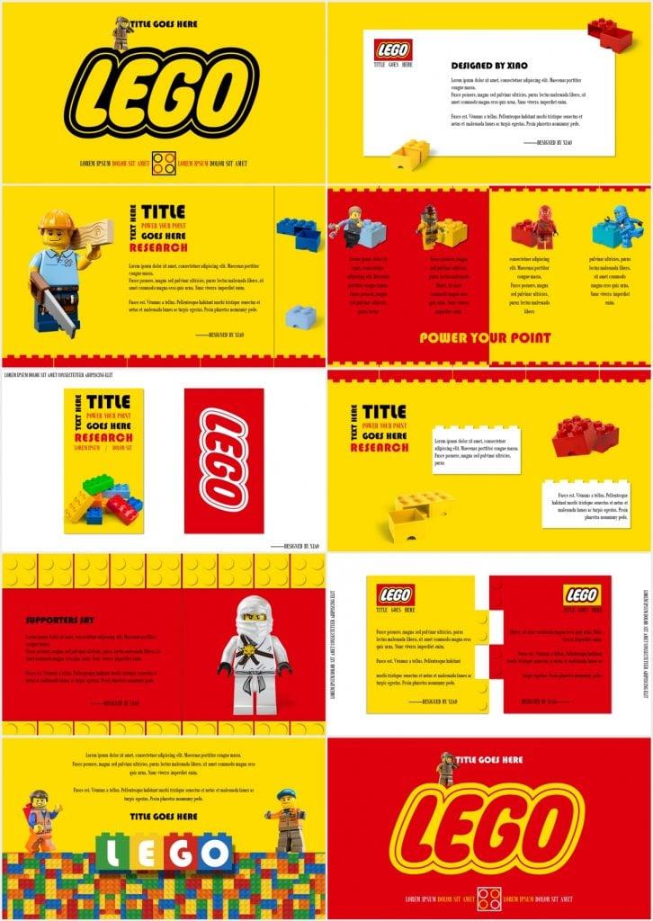 LEGO cartoon presentation themes 726x1024 - LEGO Cartoon Slide Theme - Yellow, red, pixel, cute cartoon ppt template, cartoon powerpoint background templates, cartoon
