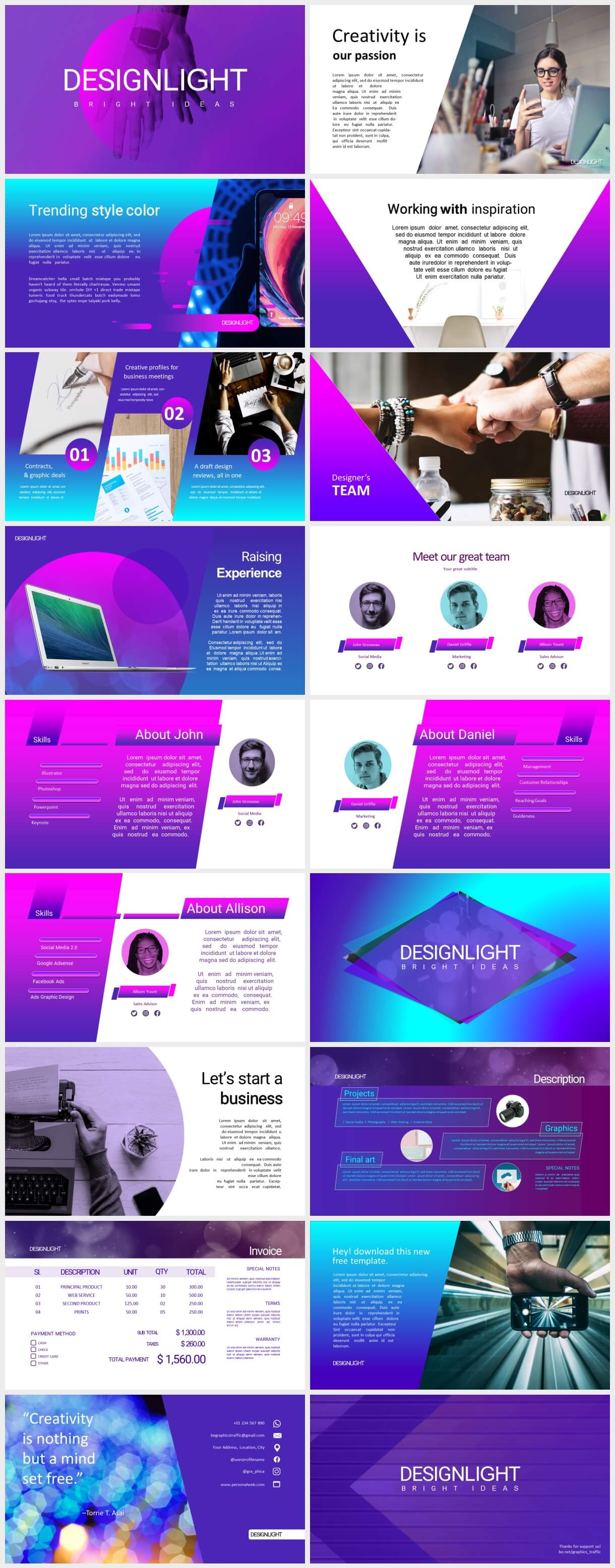 design light free ppt template by graphics traffic - Design Light Free PowerPoint Presentation - Team, Startup, purple, Portfolio, Creative