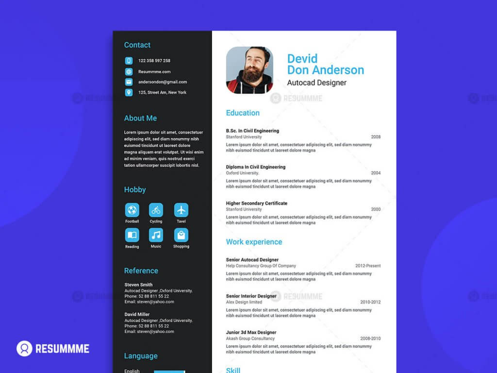 Flat Material Resume 1024x768 - 10 Best Top Free Modern CV Template 2019 - Resume, modern, Material Design Resume, CV