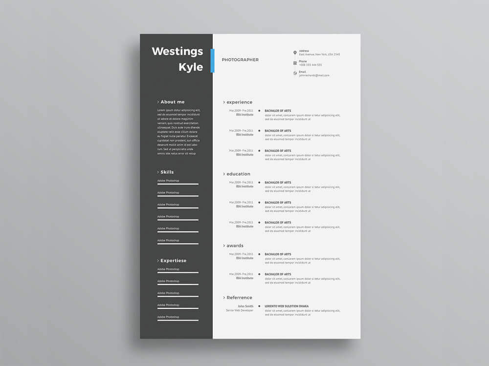 free elegant resume - 10 Best Top Free Modern CV Template 2019 - Resume, modern, Material Design Resume, CV