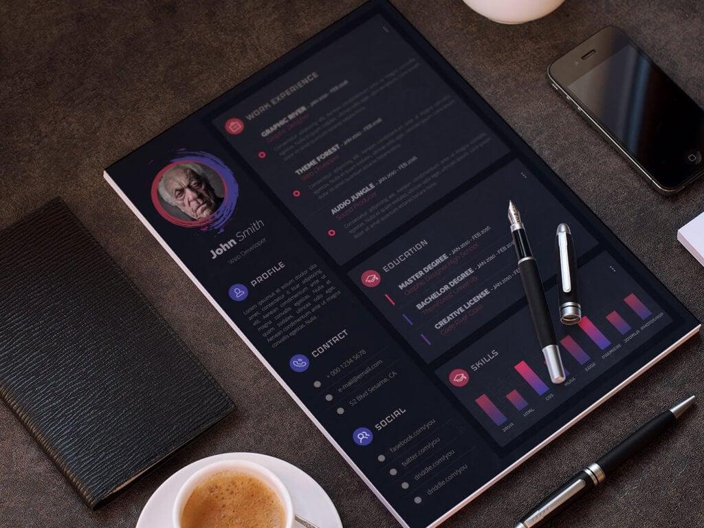 free modern resume template 1024x768 - 10 Best Top Free Modern CV Template 2019 - Resume, modern, Material Design Resume, CV