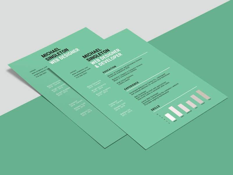 green background resume template - 10 Best Top Free Modern CV Template 2019 - Resume, modern, Material Design Resume, CV