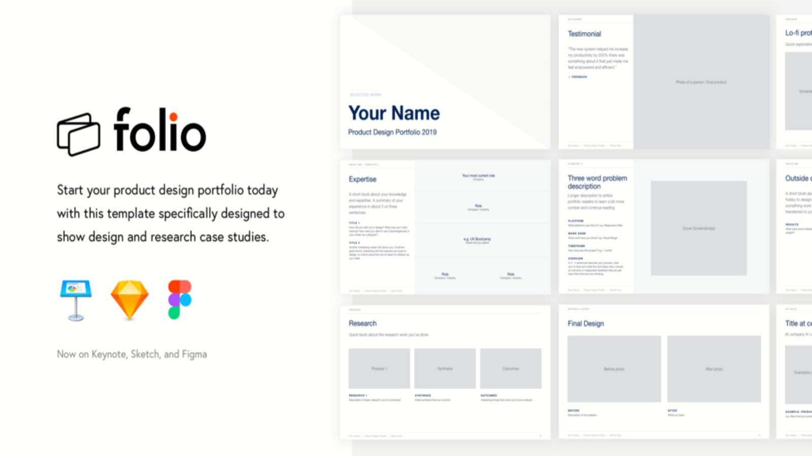 folio 2020 preview - folio Free Keynote Portfolio Theme - Sketch, Portfolio, graphic design, Figma, Designer, design