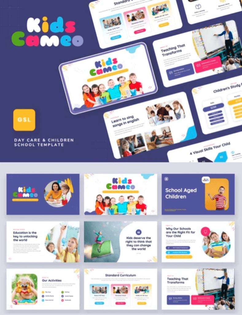 Kids Cameo Day Care Children School Google Slides Template