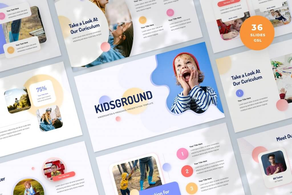 Modern Kindergarten Google Slides Template