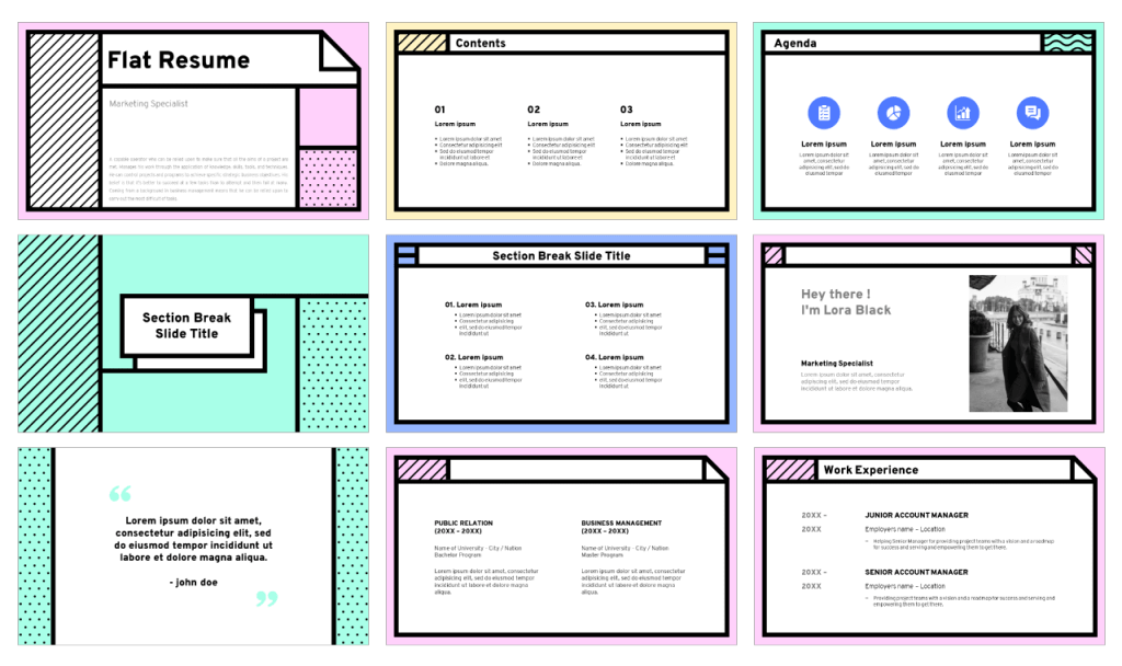 Flat Resume free presentation template