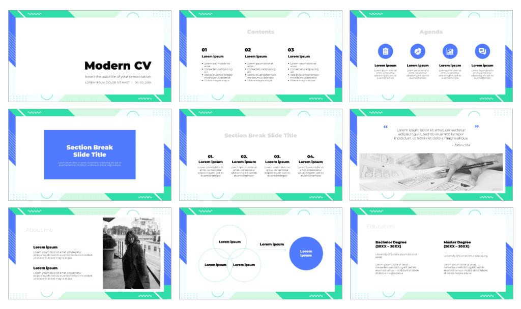 Modern CV Free PowerPoint Template Google Slides Theme